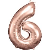 Balónek fóliový narozeniny číslo 6 růžovo-zlaté 86cm