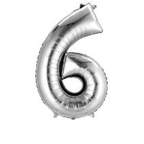Balónek fóliový narozeniny číslo 6 stříbrný 86cm