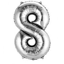 Balónek fóliový narozeniny číslo 8 stříbrný 86cm