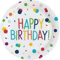 Talíře papírové narozeniny s puntíky 8 ks 23 cm
