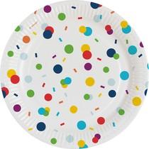 Talíř konfety papírový 8 ks 18 cm