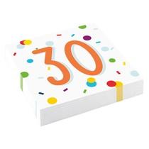 30. narozeniny ubrousky s puntíky 20 ks 33 cm x 33 cm, 3-vrstvé