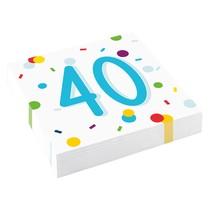 40. narozeniny ubrousky s puntíky 20 ks 33 cm x 33 cm, 3-vrstvé