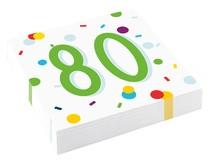 80. narozeniny ubrousky s puntíky 20 ks 33 cm x 33 cm, 3-vrstvé