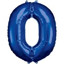 Balónky fóliové narozeniny číslo 0 modré 86cm