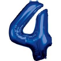 Balónky fóliové narozeniny číslo 4 modré 86cm