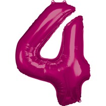 Balónky fóliové narozeniny číslo 4 růžové 86cm
