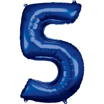 Balónky fóliové narozeniny číslo 5 modré 86cm