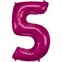 Balónky fóliové narozeniny číslo 5 růžové 86cm