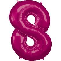 Balónky fóliové narozeniny číslo 8 růžové 86cm