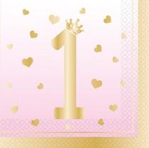 1. narozeniny ubrousky holčičí 16 ks 33 cm x 33 cm
