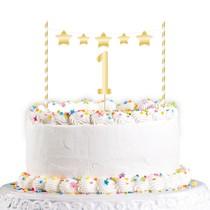 Dekorace na dort 1. narozeniny zlatá 19 cm