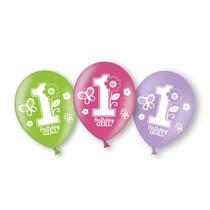 Balónky 1. narozeniny holka 6 ks 27,5 cm mix barev