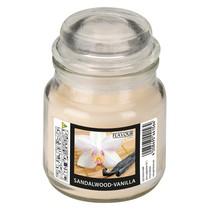 Vonná svíčka Sandalwood-Vanilla ve skle s víkem malá