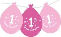 Narozeninové balónky růžové s potiskem 1 visící - 5 ks