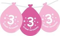 Narozeninové balónky růžové s potiskem 3 visící - 5 ks