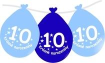 Narozeninové balónky modrý s potiskem 10 visící - 5 ks