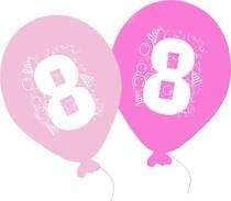Balonky narozeniny 5ks s číslem 8 pro holky