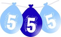 Narozeninové balónky modré visící 5.