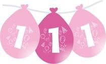 Nafukovací balónky růžové číslo 1 visící