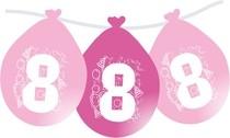 Narozeninové růžové balónky s číslem 8