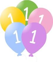 Narozeninové  balonky s číslem 1, 5ks