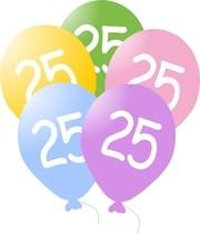 Balónky s číslem 25, 5ks