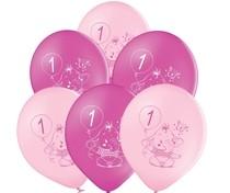 Balónky 1.narozeniny růžový slon 6 ks