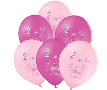 Balónky 2.narozeniny růžový slon 6 ks