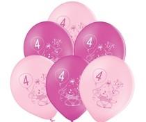 Balónky 4.narozeniny růžový slon 6 ks