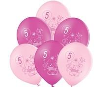 Balónky 5.narozeniny růžový slon 6 ks