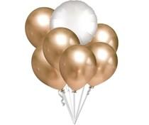 Balónky chromové zlaté a bílý balónek kruh set