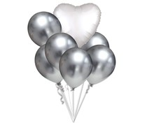 Balónky chromové stříbrné a bílé srdíčko set