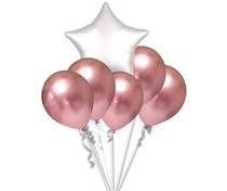 Balónky chromové růžovo-zlaté a bílá hvězda set