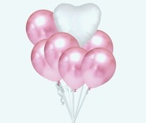 Balónky chromové světle růžové a bílé srdíčko set