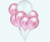 Balónky chromové světle růžové a bílý kruh set