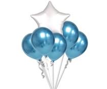 Balónky chromové modré a bílá hvězda set