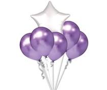 Balónky chromové fialové a bílá hvězda set