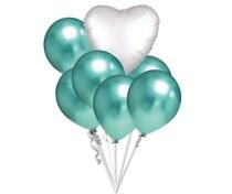 Balónky chromové zelené a bílé srdíčko set