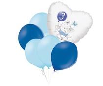 Set 3.narozeniny modrý slon srdce foliový balónek