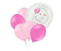 Set 3.narozeniny růžový slon kruh foliový balónek