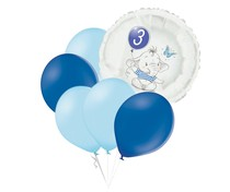 Set 3.narozeniny modrý slon kruh foliový balónek