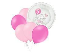 Set 5.narozeniny růžový slon kruh foliový balónek