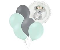 Set zelených balónků a kruh s potiskem koaly