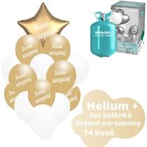 Helium sada - zlaté balónky s českým potiskem KRÁSNÉ NAROZENINY