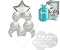Helium sada - stříbrné balónky s českým potiskem KRÁSNÉ NAROZENINY