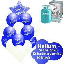 Helium sada - tmavěmodré balónky s českým potiskem KRÁSNÉ NAROZENINY