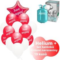 Helium sada - červené balónky s českým potiskem KRÁSNÉ NAROZENINY