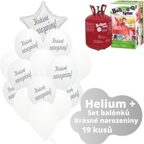 Helium sada - bílé balónky s českým potiskem KRÁSNÉ NAROZENINY