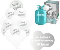 Helium sada - kruh bílé a balónky s českým potiskem KRÁSNÉ NAROZENINY